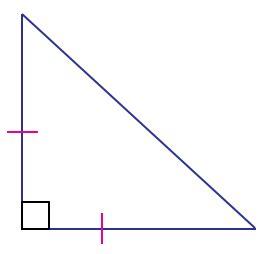 isosceles right triangle definition, formula, area
