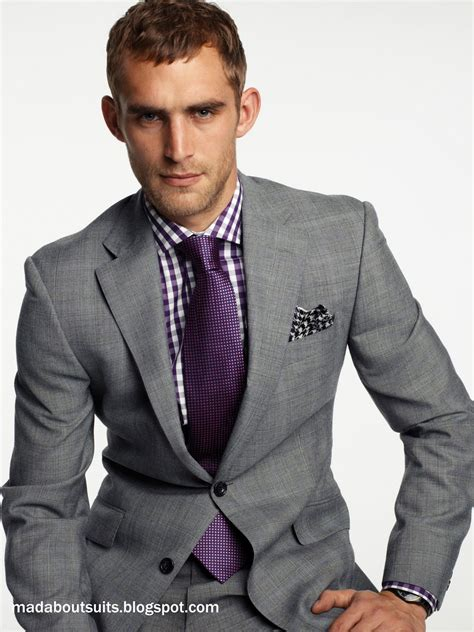 shirt with light grey suit grey tux purple tie great look for the groom if you