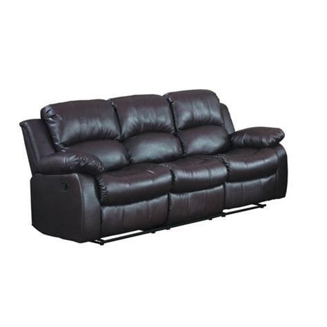 leather double recliner sofa trent home cranley double reclining leather sofa in brown