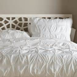 Duvet Cover Organic Cotton Pintucked Duvet Cover White Contemporary