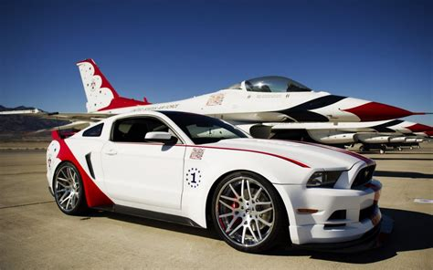 and white mustang gt white and ford mustang gt on the airport