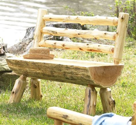 homemade log bench log bench with back diy project for hubby country