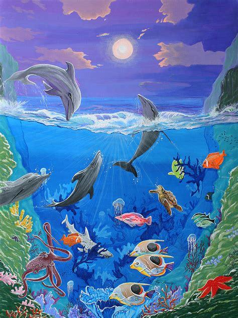 Purple Bedroom Ideas by Whimsical Original Painting Undersea World Tropical Sea