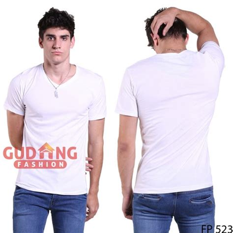 Tshirt Kaos Polos Vneck Pria Cowok Tangan Hitam Rib Leher Hitam 1 kaos t shirt v neck lengan pendek spandek putih fp 523 gudang fashion