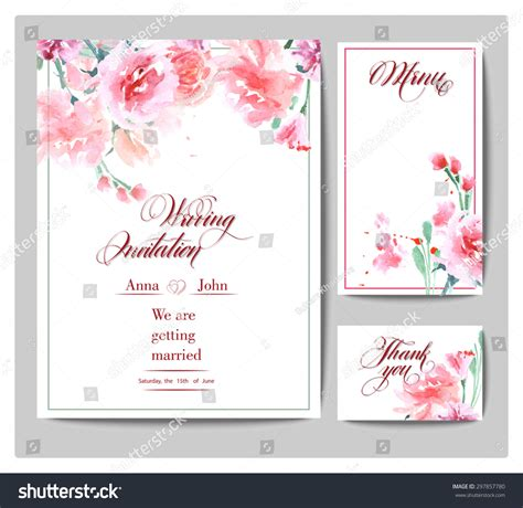 vector wedding invitations wedding invitation cards watercolor blooming stock