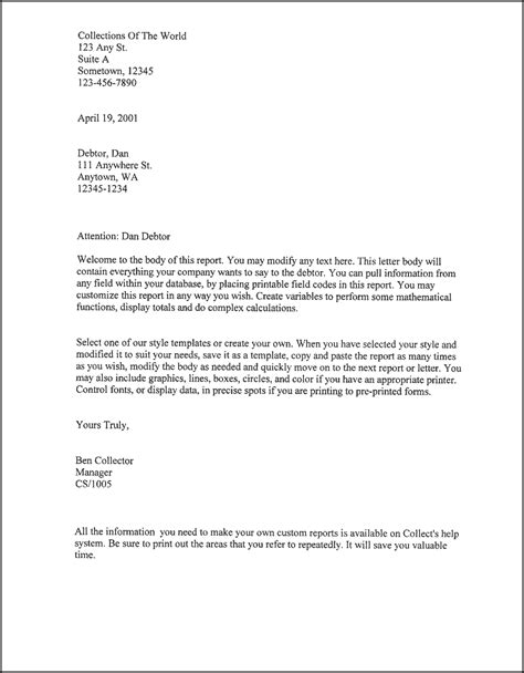 Free Printable Business Letter Template Form Generic Get Out Of Debt Free Template Letters