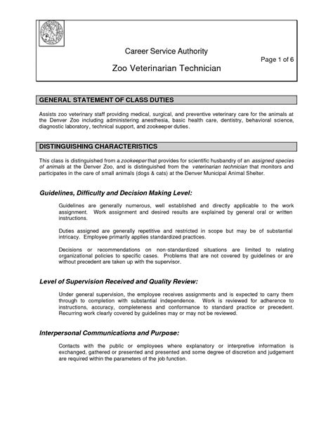Veterinarian Resume by Vet Tech Resume Skills Resume For Veterinary Technician