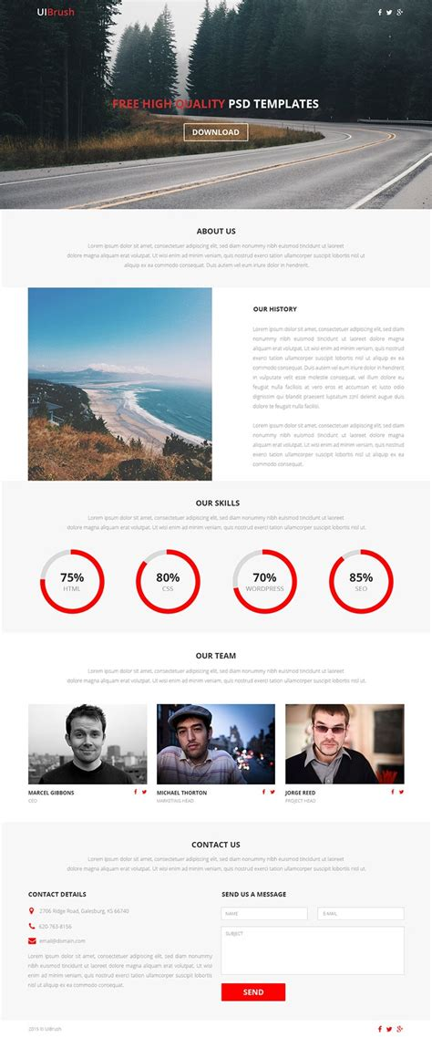 free one page website template psd