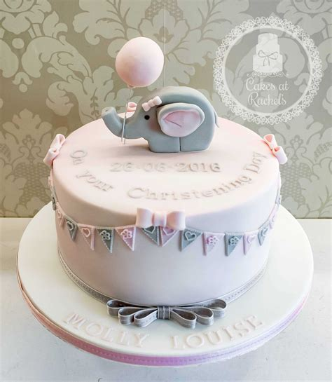 Baptism Cakes by Elephant Christening Cake Decorated With Pink And