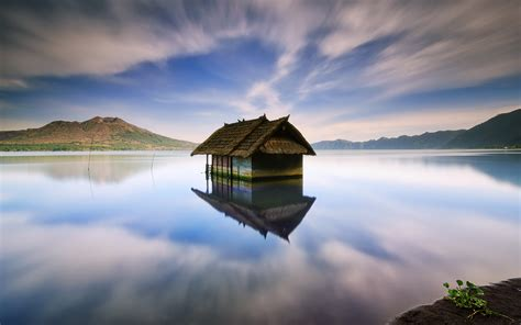 house water lake house water reflection mountains wallpaper