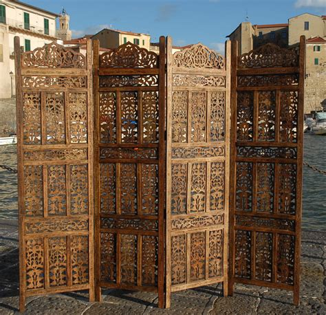 Paravent 4 Panel Indian Hand Carved Wooden Screen Room Carved Wood Room Divider