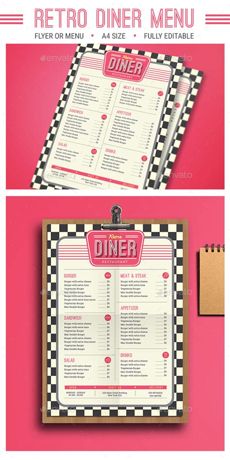 Retro Diner Menu By Guuver Graphicriver 50s Diner Menu Templates Free