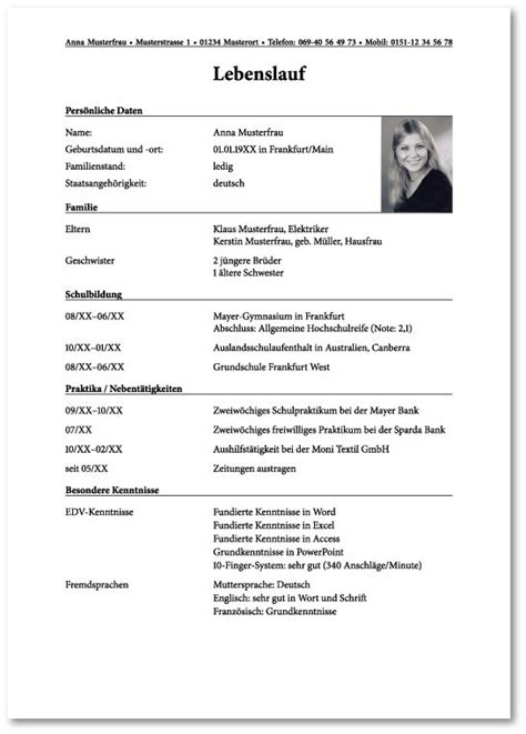 25 best ideas about bewerbung muster ausbildung on curriculum vitae text 82 images concise resume