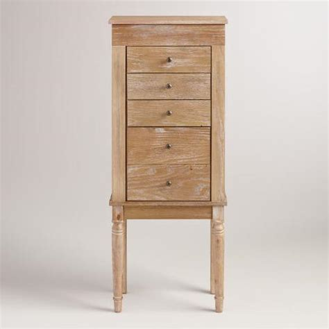 distressed jewelry armoire distressed whitewash fabiana jewelry armoire world market