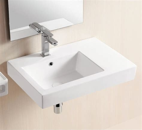 wall mounted ceramic sink with counter space modern bathroom sinks other metro by