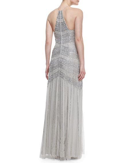 silver beaded gown aidan mattox beaded tulle halter gown silver