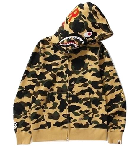 Hoodie Zipper Assc Merah 11 Jidnie Clothing a bathing ape 1st camo shark zip hoodie ponr yellow camo grails sf