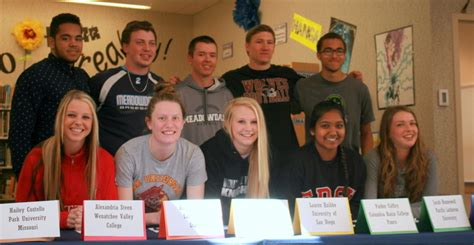letter of intent for meadowdale high school athletes honored at college signing 1403