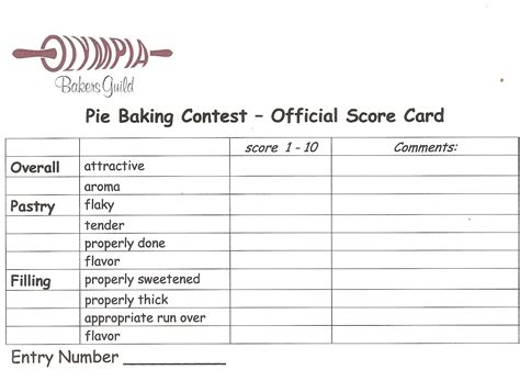 Food Judging Score Card Template by Pie Contests Of The Pie 174