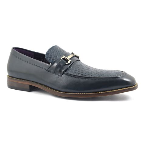 navy loafer buy mens navy mock croc loafer gucinari