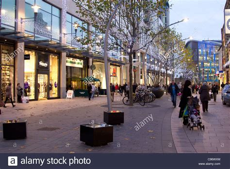 christmas shopping in cardiff city centre stock photo