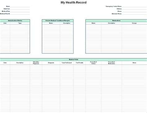health record template personal health record