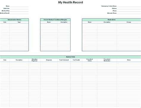 Personal Health Record Personal Health Record Template Pdf