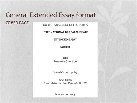 Extended Essay Title Page Exle by Senior 7 Extended Essay Workshop