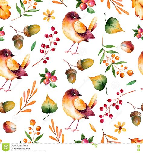 seamless pattern with autumn leaves flowers branches