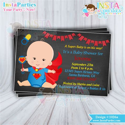 Superman Baby Shower Invitations by Baby Shower Invitations Boy Superheroes