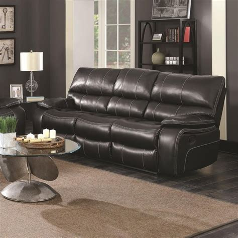 coaster reclining sofa coaster willemse faux leather reclining sofa with drop