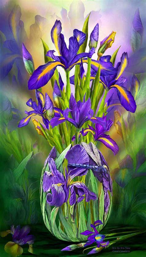Vase Of Irises language of flowers series iris in iris vase