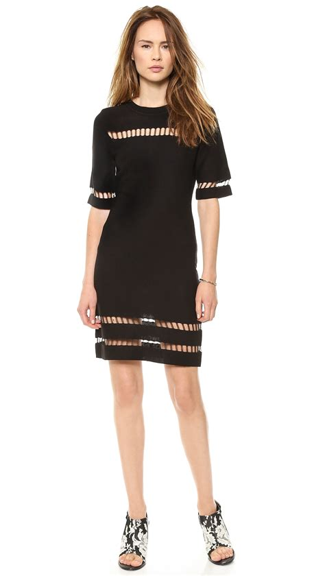 Sale Dresses 100 At Shopbop Part 3 by Joa Sleeve Dress With Mesh Inserts Black In Black