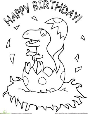 birthday dinosaur coloring page happy birthday coloring pages education com