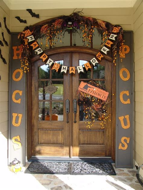halloween decorations front entry door with cute hocus