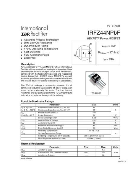 irfzn mosfet datasheets mouser