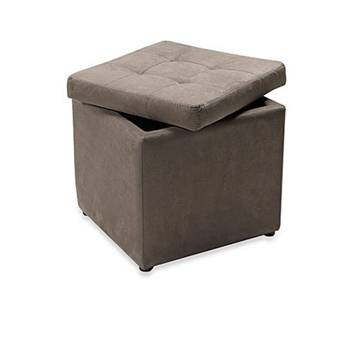 Microfiber Storage Ottoman With Tufted Top Gray Bed Microfiber Storage Ottoman