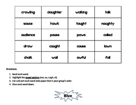 au pattern words vowel sound sort aw au augh al by ms reis tpt