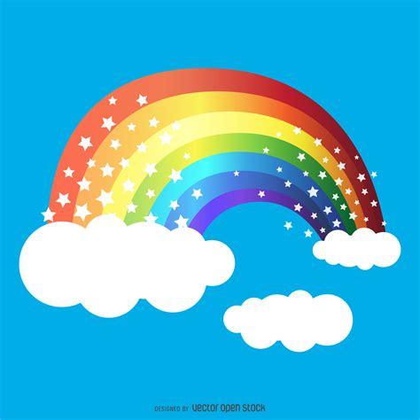 imagenes de un arco iris dibujo de arco iris con las estrellas descargar vector