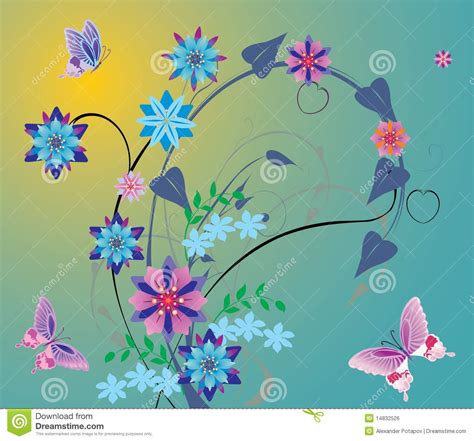flores azules claras mariposa imagenes de archivo imagen 2050474 flores azules y mariposas rosadas imagen de archivo libre