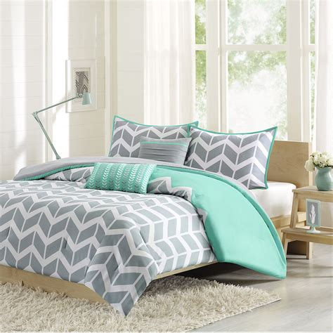 Cool gray teal chevron stripe bedding for king size bed with aqua blue and gray zigzag queen