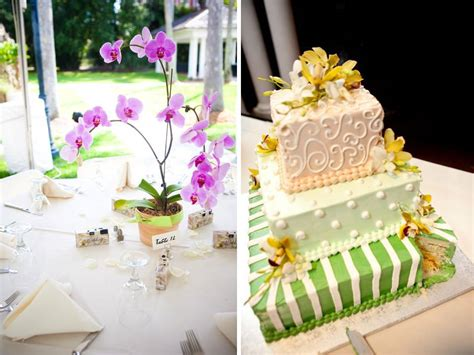 wedding cake table centerpieces ivory yellow green three tier square wedding cake adorned with yellow orchids onewed