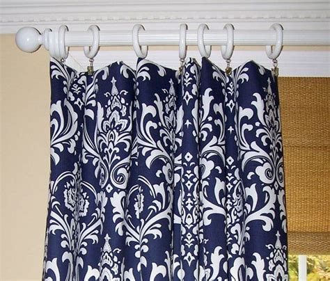 Navy And White Curtains Navy Blue Damask Curtains Premier Fabric By Cathyscustompillows 139 00 Dining Room