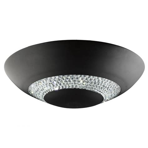 searchlight halo matt black and led flush ceiling