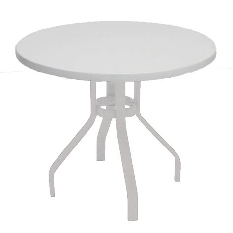 Marco Island 36 In White Round Commercial Fiberglass White Patio Dining Table