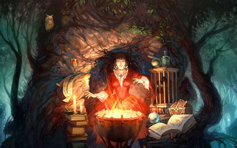 the occult witchcraft witch occult wiccan wicca cauldron fire flames magic book spell book trees forest cg digital art