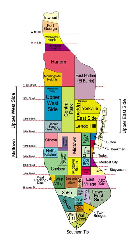 sections of new york city manhattan neighborhoods manhattan maps new york city