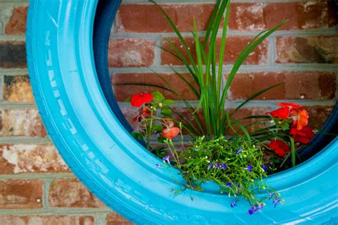 upcycled tire wall planters back to roots