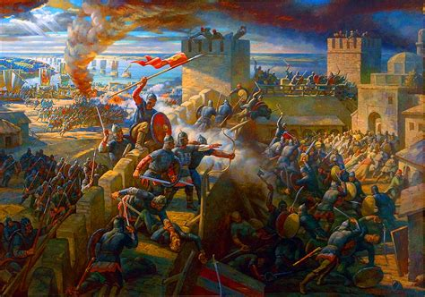 ottoman turks army assaultiing the walls of constantinople
