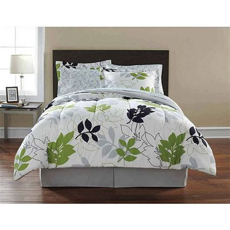 Mainstay Bedding Set Mainstays Leaf Toss Complete Bedding Set Black Green Floral Xl And Walmart